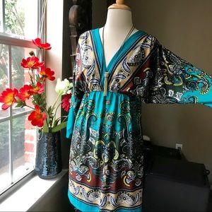 bailey blue mandala paisley dress